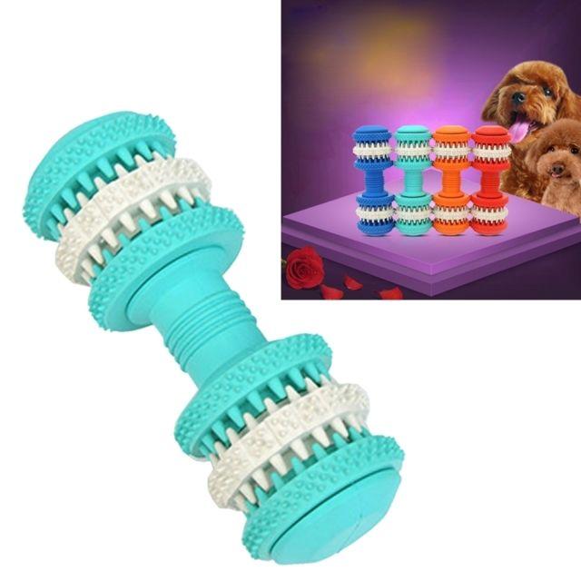 Wewoo - Jouet pour Animaux bleu bébé chien de compagnie Nettoyage de dents Chewing Haltères Forme Jouets en caoutchouc souple non toxique, grande taille, longueur: 15 cm Noir