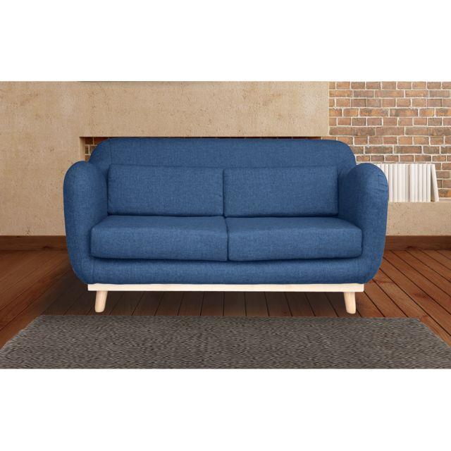 AUTRES Canapé 2 places fixes pieds bois en tissu - coloris bleu nuit