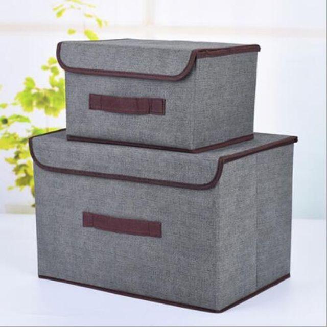 Wewoo 2 en 1 coton tissu Cube Boîte de rangement broderie panier à linge placard vitrine titulaire jouets organisateur Gris