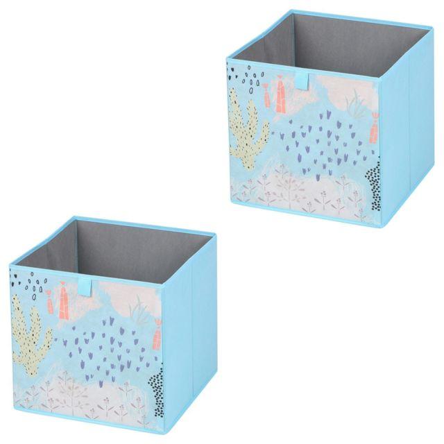 Idimex Lot De 2 Boites De Rangement En Tissu Bleu Flower Morning Cube De Rangement Pour Enfant Ou Adulte Dim 32 X 32 X 32 Cm Decor Floral Pas Cher