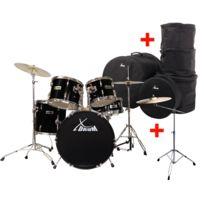 """Xdrum - Semi 20"""" batterie studio Noir Xl Set incl. pied perche cymbale + cymbales crash + housses"""