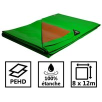 Tecplast - Bâche jardin 250g/m² - bâche bois - bâche de protection plastique verte et marron 8x12 m en polyéthylène