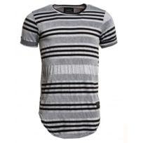 Celebry tees - Tee-shirt oversize noir et gris rayé fashion