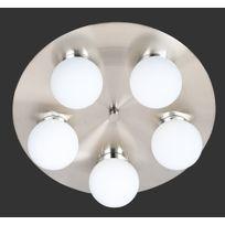 Trio-Leuchten - Plafonnier rond 40 Cm, 5 ampoules, en métal nickel mat et verre mat