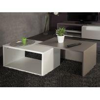 Table Basse Rectangulaire Gigogne En Bois L70xp40xh35cm Blanc Taupe