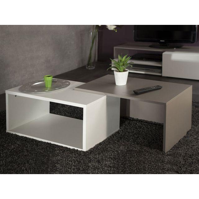 Symbiosis Table basse rectangulaire gigogne en bois L70xP40xH35cm - Blanc / Taupe