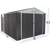 Habitat et Jardin - Garage Metal Nevada Avec Porte Battante - 15,36 M²
