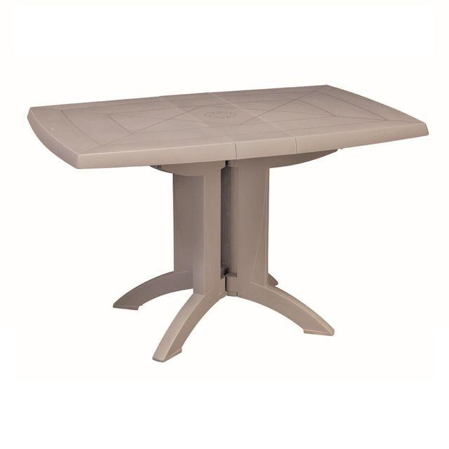GROSFILLEX - Table de Jardin Vega Pliante 118 x 77 cm Lin Gris - pas ...