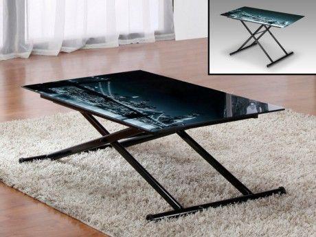 Vente-unique Table réglable Up & Down Midnight - 4 couverts - Verre trempé