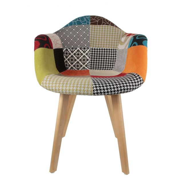 the concept factory fauteuil scandinave patchwork multicolore pas cher achat vente chaises. Black Bedroom Furniture Sets. Home Design Ideas