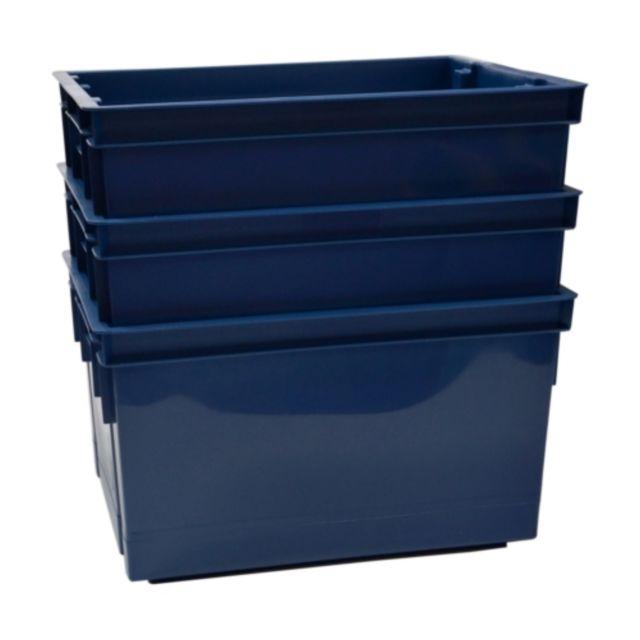 Lot de 3 bacs 20L bleu