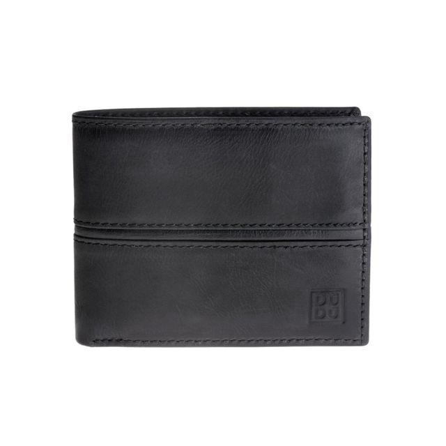 Dudu portefeuille pour homme en cuir vieilli classique avec porte monnaie noir pas cher - Portefeuille cuir homme avec porte monnaie ...