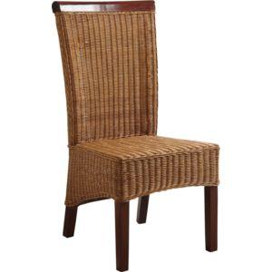 Aubry gaspard chaise en rotin et acajou multicolore for Prix chaise en rotin