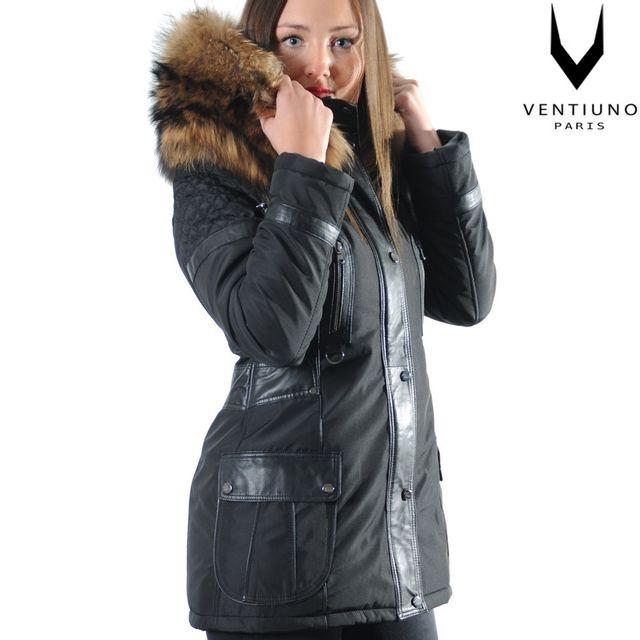 Fiorella Veste Ventiuno Matiere Noir Longue Bi Fourrure 34 Aqb6xr