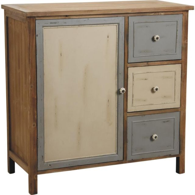 AUBRY GASPARD Commode 1 porte 3 tiroirs en pin Antique