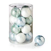 Alinéa - Nature scandinave Lot de 16 boules en verre blanc, bleu givré, bleu pâle - D3.5cm