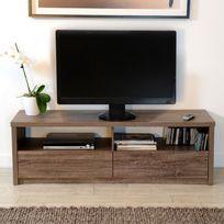Marque Generique - Meuble Tv bas en bois avec niches et tiroirs Longueur 140 cm Champagne