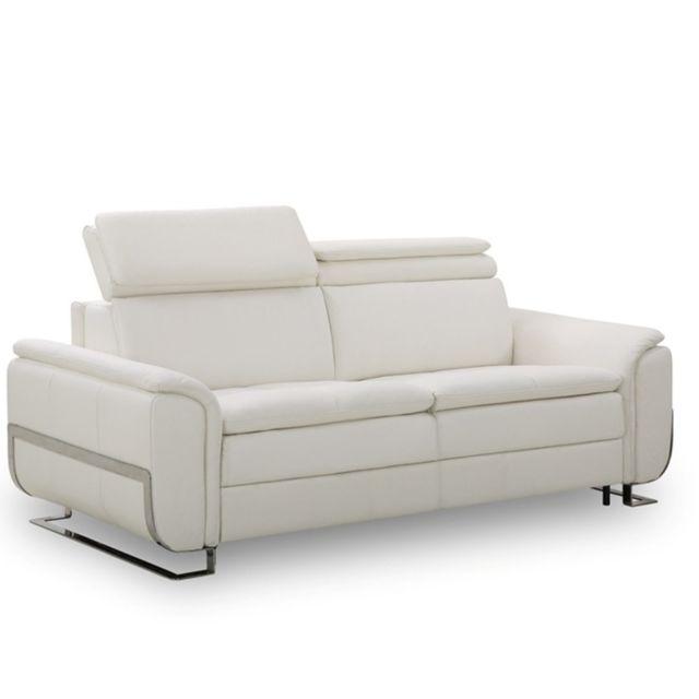 inside 75 canap lit morelia convertible 140cm rapido matelas 15cm cuir vachette recycl blanc. Black Bedroom Furniture Sets. Home Design Ideas
