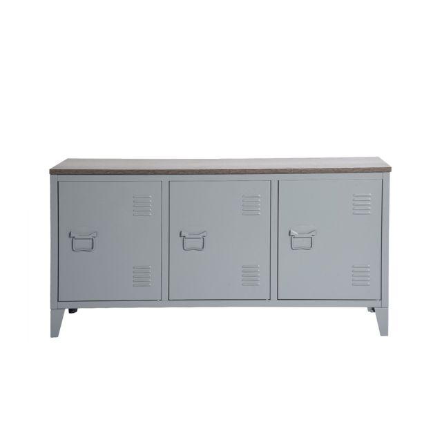 Calicosy Armoire basse en métal 3 portes avec plateau en bois