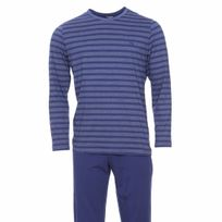 Hom - Pyjama long Charismatic en jersey de coton : tee-shirt col rond bleu marine à rayures grises et pantalon uni bleu marine