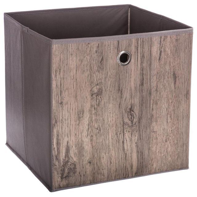 paris prix bo te de rangement pliable bois 31x31cm gris pas cher achat vente bo te de. Black Bedroom Furniture Sets. Home Design Ideas