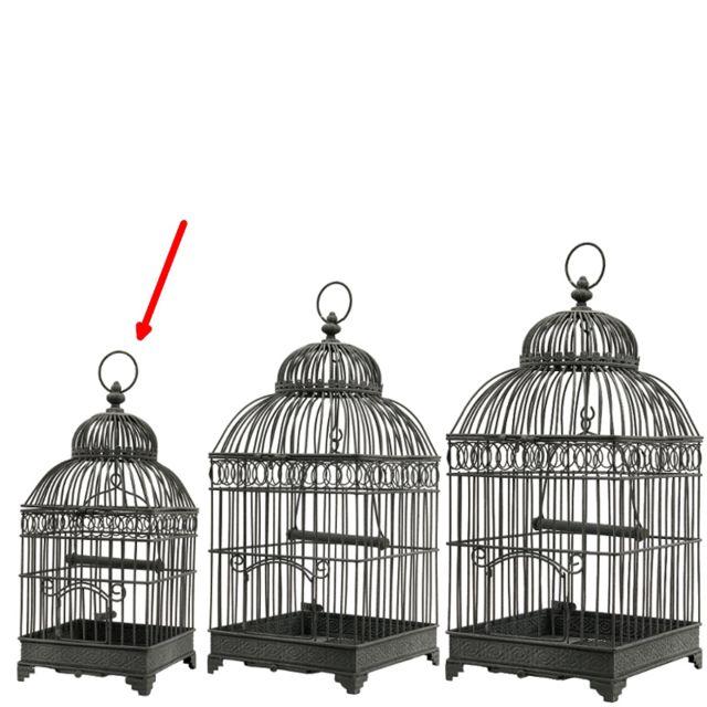 L'ORIGINALE Deco Petite Cage à Oiseaux Carré en Fer de Décoration Gris 40 cm x 16.50 cm x 16.50 cm