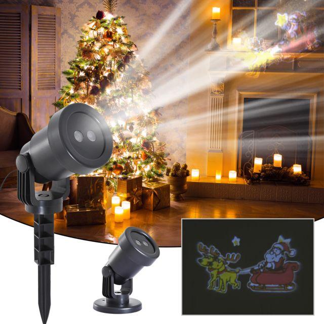 homcom projecteur led clairage de no l int rieur ext rieur 6 w motif traineau du p re no l. Black Bedroom Furniture Sets. Home Design Ideas