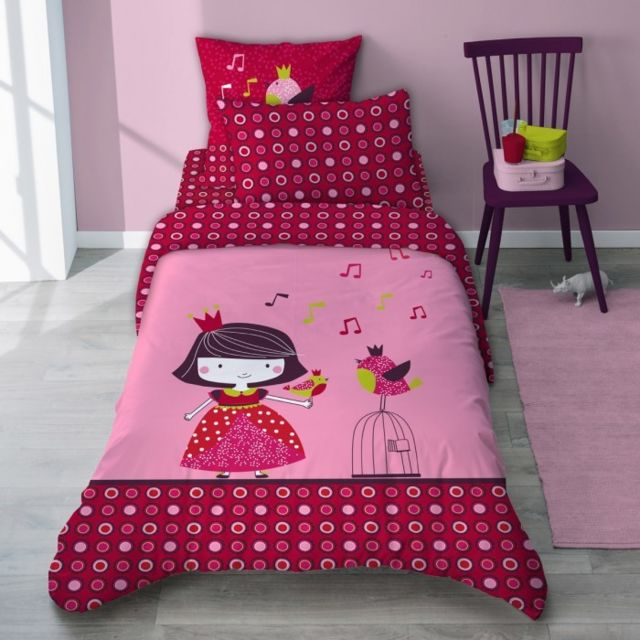 selene et gaia housse de couette princesse rose fuschia en coton enfant princesse guinguette. Black Bedroom Furniture Sets. Home Design Ideas