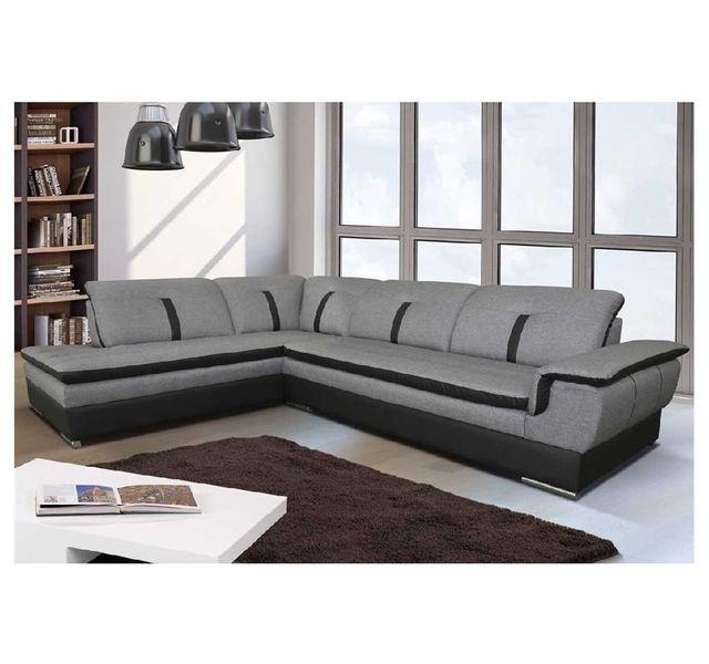 CHLOE DESIGN - Canapé d angle Marion - tissu - gris et noir - Angle gauche 69e24c12a37a