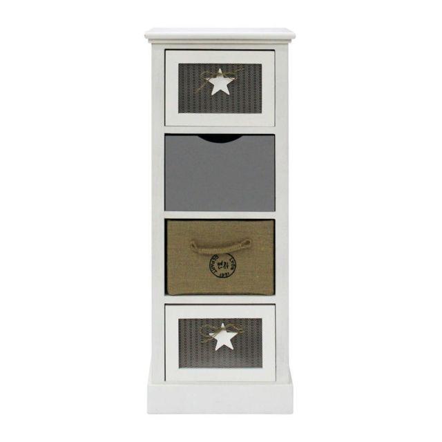 Mobili Rebecca Armoire Commode Rangement Blanc Gris 4 Tiroirs Bois 89x34x29
