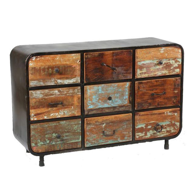 tousmesmeubles commode 9 tiroirs bric bois pas cher achat vente commode rueducommerce. Black Bedroom Furniture Sets. Home Design Ideas
