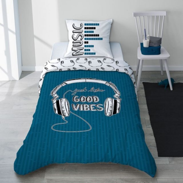 selene et gaia parure linge de lit rock gris et bleu casque ado gar on coton good vibes. Black Bedroom Furniture Sets. Home Design Ideas