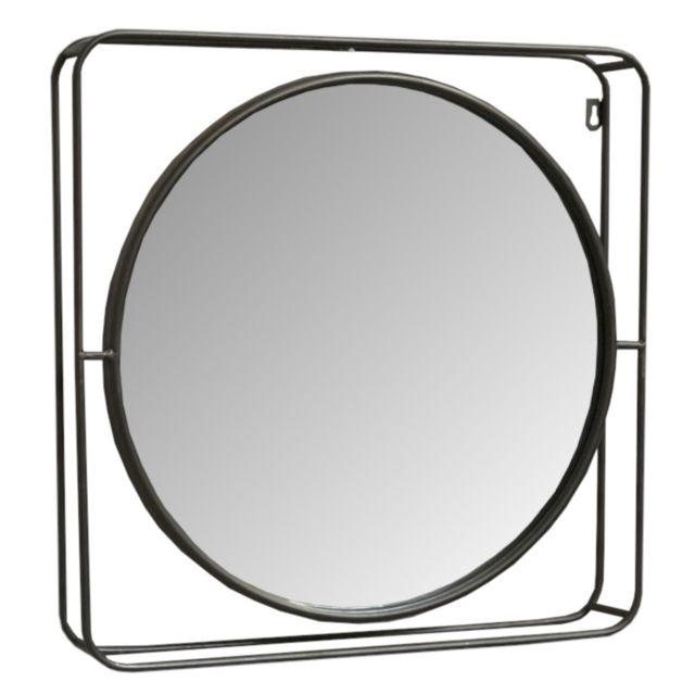 L'ORIGINALE Deco Miroir Rond Orientable Industriel Mural 51 cm x 51 cm x 8 cm