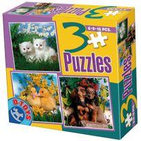 Dtoys - Puzzle de 6 à 16 pièces : 3 puzzles : Chatons, canetons et chiots