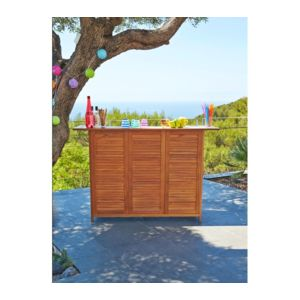 CARREFOUR - Bar de jardin rectangulaire - 150x50xH100 cm - Acacia ...