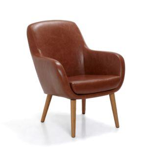 alin a sally fauteuil r tro imitation cuir cognac pas cher achat vente fauteuils. Black Bedroom Furniture Sets. Home Design Ideas