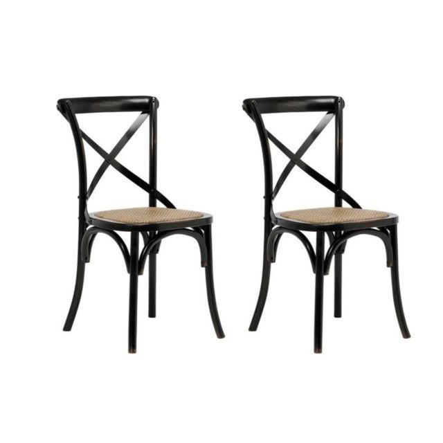 Chaises Bistrot En Bois Noir Et Rotin Lot De 2 Kaffe