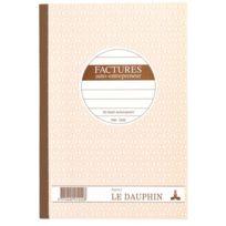 Le Dauphin - Cahier auto entrepreneur facture Manifold autocopiant 14,8 x 21 cm 50 pages double exemplaires - Lot de 5