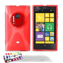 "Muzzano - Coque Souple Ultra-Slim ""Le X"" Premium Rouge pour Nokia Lumia 1020 + 3 Films de protection ?cran"