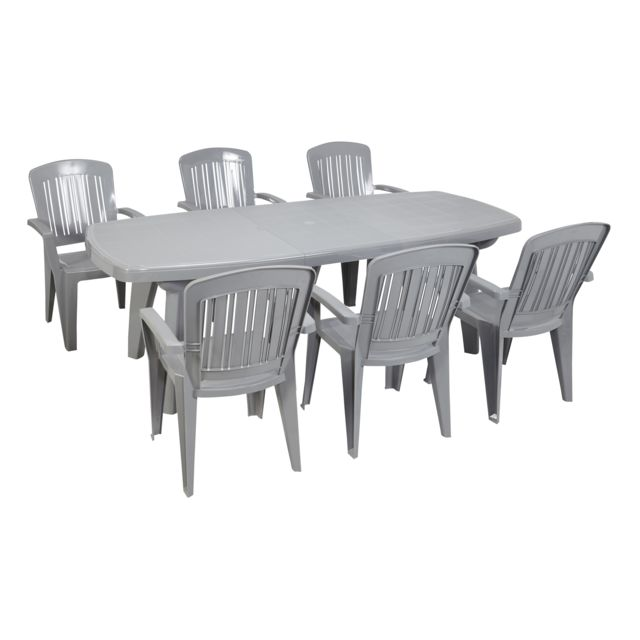 CARREFOUR - CAPRI - Table rectangulaire extensible - Gris. + 6 CAPRI ...