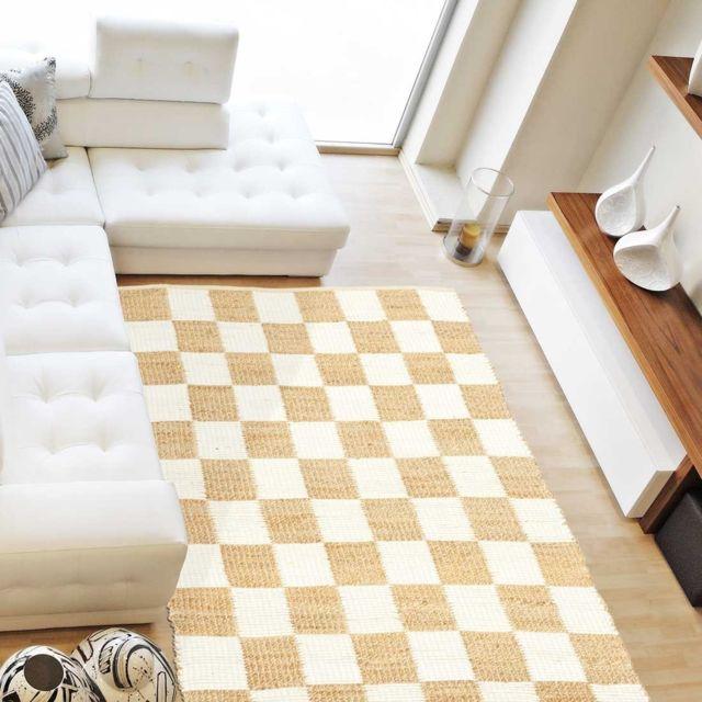 un amour de tapis tapis de salon moderne design carre jute coton blanc pas cher achat. Black Bedroom Furniture Sets. Home Design Ideas