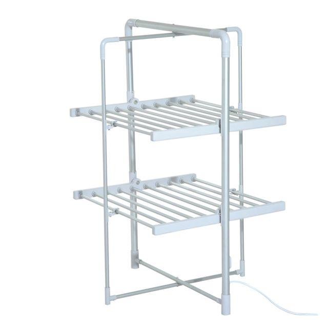 HOMCOM Séchoir à linge étendoir à linge électrique chauffant pliable 2 niveaux 200 W 50-55? aluminium neuf 48