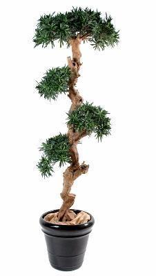Artificielflower Bonsaï artificiel Podocarpus nuage - plante artificielle intérieur - H.110cm - taille : 110 cm