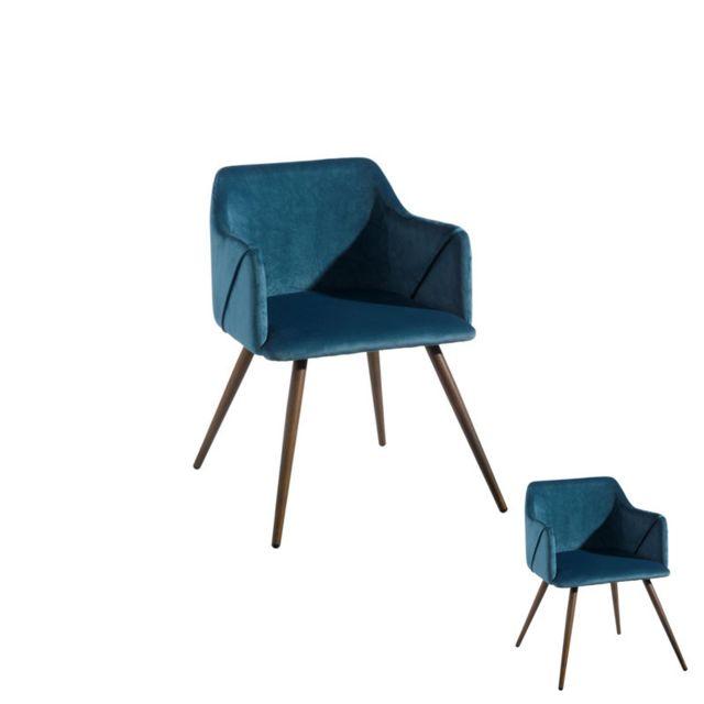 Tousmesmeubles Duo de fauteuils velours Bleu - Dona