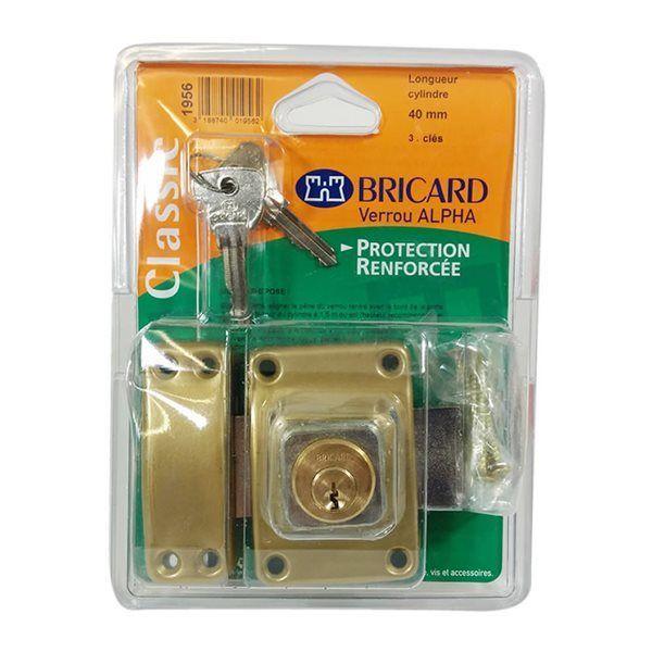 Bricard - Verrou de securité pour porte avec cylindre 40 mm Alpha