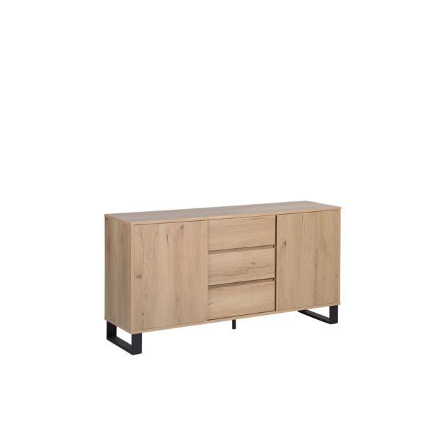 BELIANI Commode chêne avec tiroirs et compartiments ELDA - marron