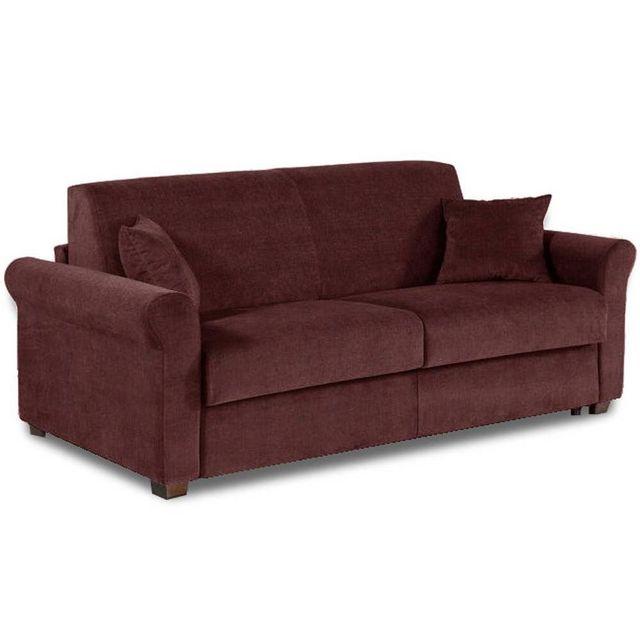 inside 75 canap lit 3 places romantico en microfibre bordeaux convertible 140cm syst me. Black Bedroom Furniture Sets. Home Design Ideas