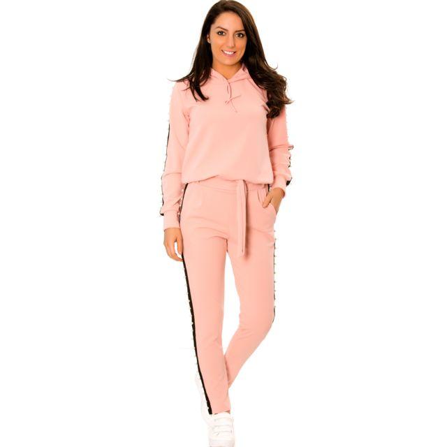683c02a2e12 Grossiste-en-ligne - Ensemble jogging rose à bandes noires perlées sur le  côté très fashion. 1765 - pas cher Achat   Vente Pantalon femme -  RueDuCommerce