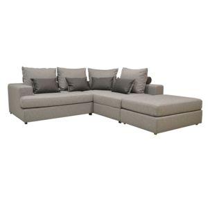 alin a marianne canap d 39 angle droit convertible en tissu gris argent et pouf amovible achat. Black Bedroom Furniture Sets. Home Design Ideas