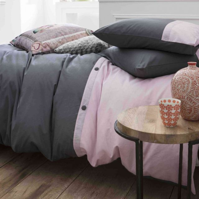today parure de lit cassandre gris et rose 240x220 pas cher achat vente parures de lits. Black Bedroom Furniture Sets. Home Design Ideas